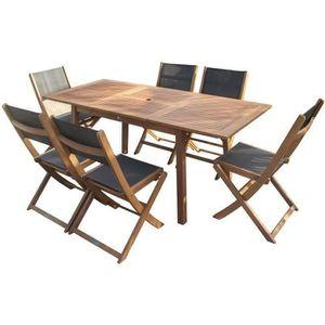 Ensemble table et chaise de jardin Ensemble repas de jardin  6 personnes - Table exte