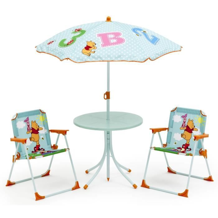 winnie l 39 ourson ensemble de jardin camping enfant table et 2 chaises achat vente salon. Black Bedroom Furniture Sets. Home Design Ideas