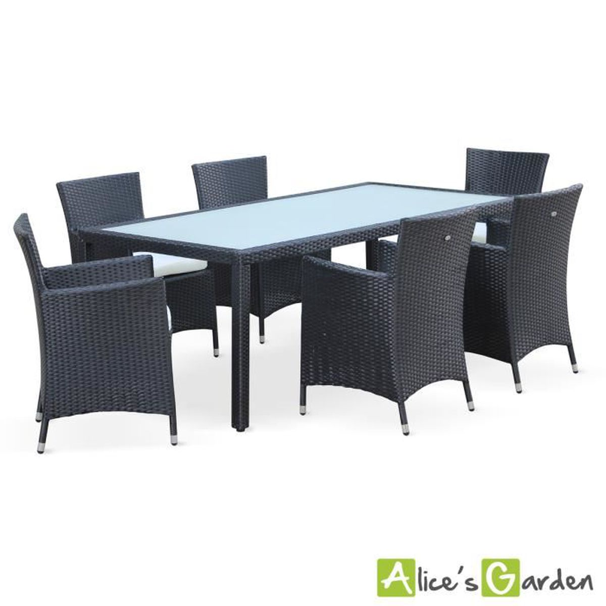Arezzo table de jardin r sine tress e 6 places achat - Salon de jardin resine 6 places ...