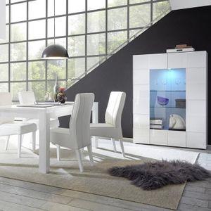 BUFFET - BAHUT  Vaisselier blanc laqué brillant DOMINOS Sans L 121