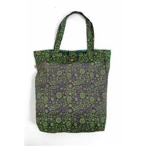 SAC SHOPPING Sac tote bag coton imprime nepalese cach U Violet