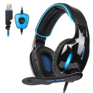 CASQUE AVEC MICROPHONE Casque Gaming, SADES SA902 Over-Ear USB Casque Gam