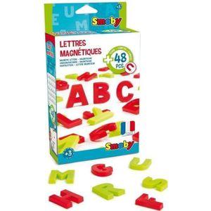 TABLEAU ENFANT SMOBY 48 Lettres Magnétiques Majuscules Rouge/Vert