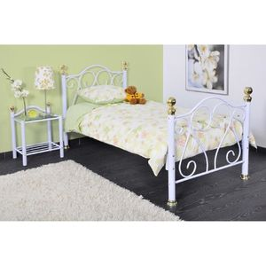 suzon lit enfant 90cm m tal blanc achat vente. Black Bedroom Furniture Sets. Home Design Ideas