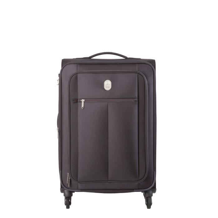 visa delsey valise trolley extensible souple 4 roues 68cm pin up5 noir noir achat vente. Black Bedroom Furniture Sets. Home Design Ideas