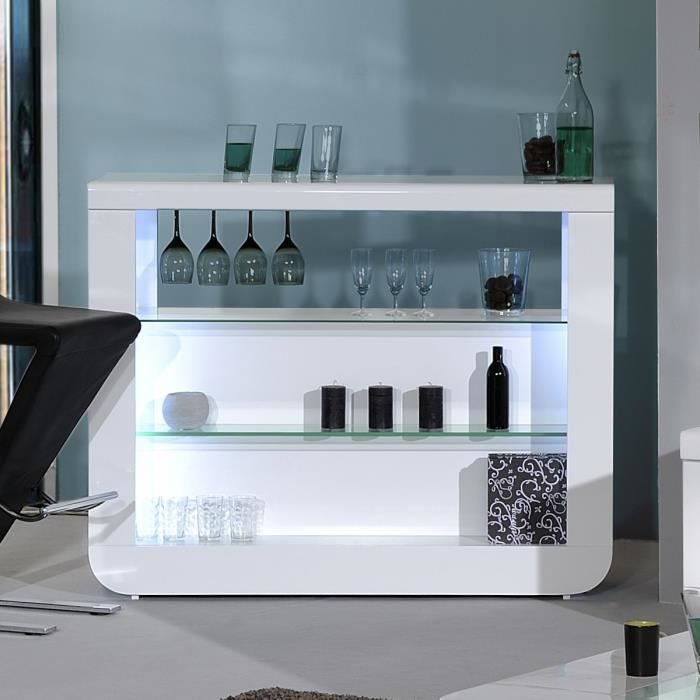 floyd comptoir bar laqu blanc contemporain l 125 cm. Black Bedroom Furniture Sets. Home Design Ideas