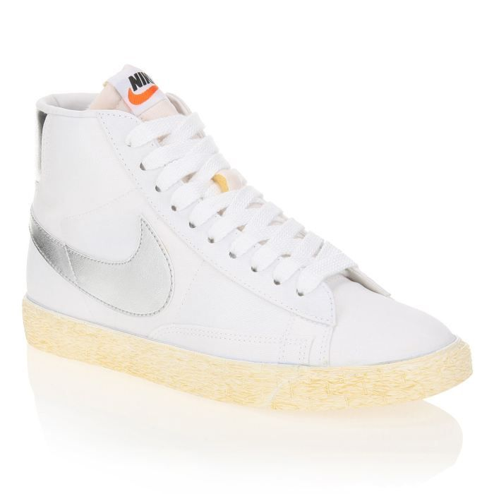 nike baskets blazer high femme femme blanc et argent achat vente nike baskets blazer high. Black Bedroom Furniture Sets. Home Design Ideas