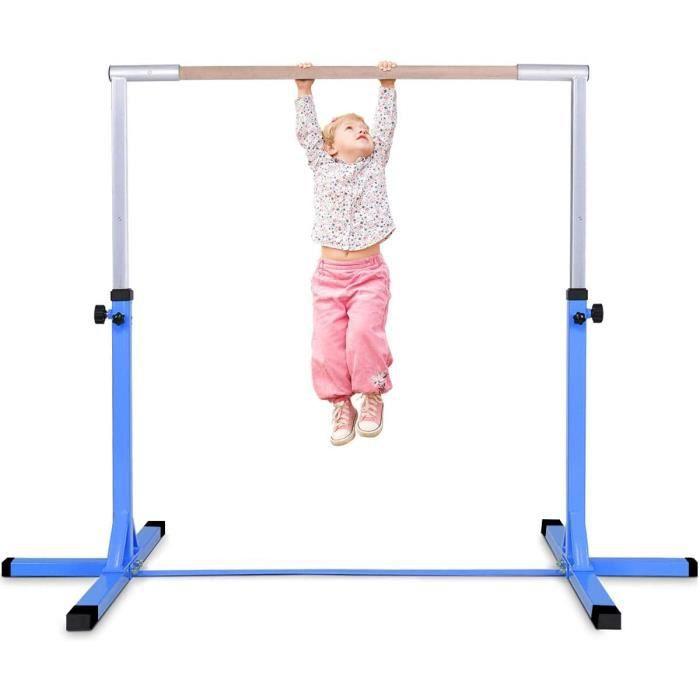 DREAMADE Barre de Gymnastique pour Enfants, Gymnastique Barre en Acier, PP avec Hauteur Réglable entre 91 et 150 cm pour enfants