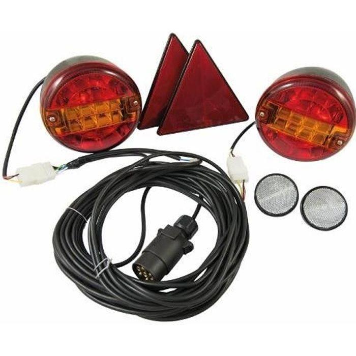 Kit éclairage a feux Led ronds pour remorques 10 mt + 4 mt