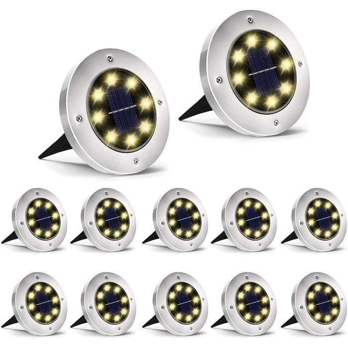 HiO 12 pièces Lumière Solaire Extérieur, Lampe solaire pour jardin 8 LED solaires en acier inoxydable étanche pour extérieur Blanc C