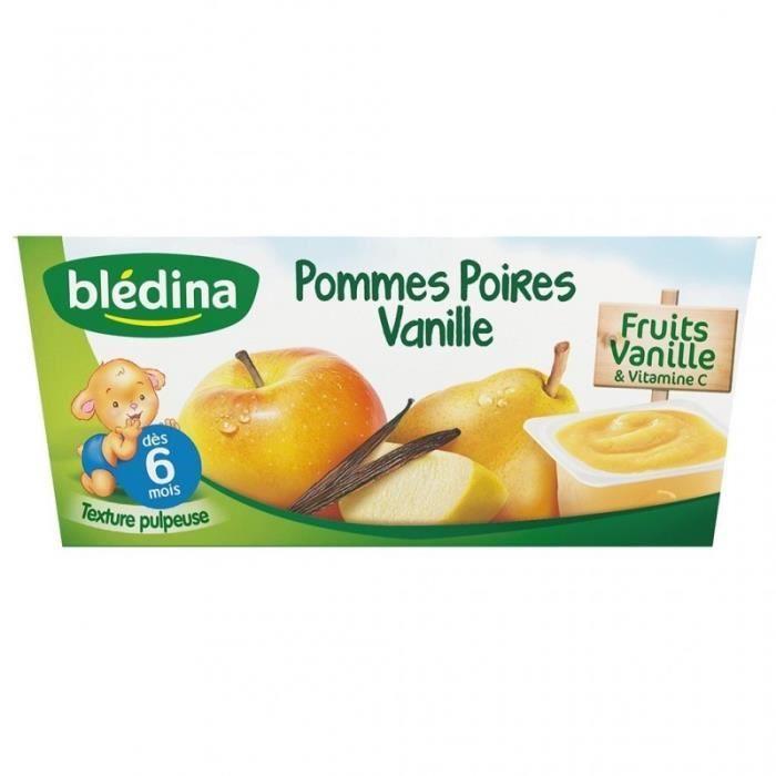 Blédina Pommes Poires Vanilles (dès 6 mois) par 4 pots de 100g (lot de 6 soit 24 pots)
