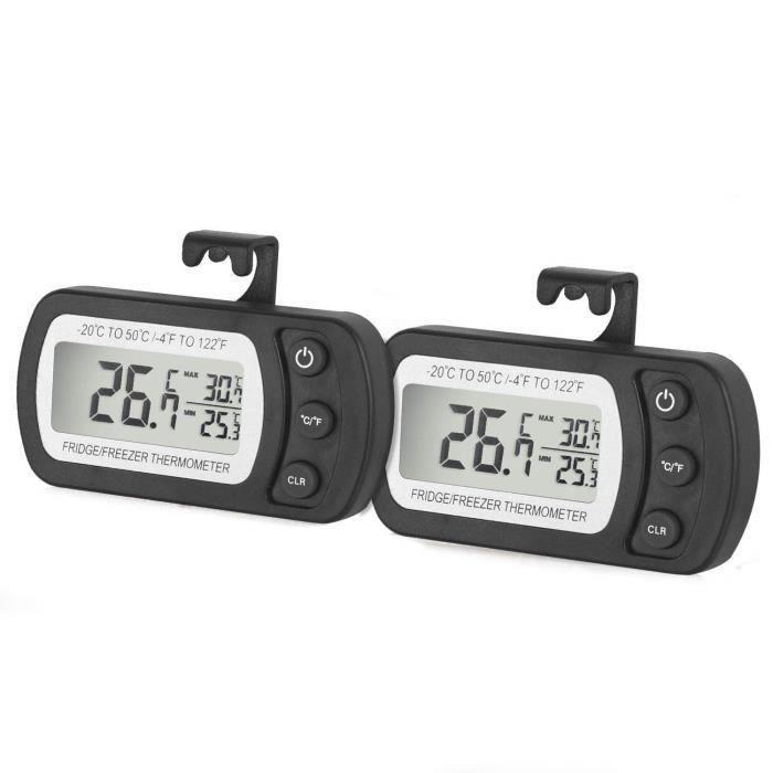 2 pcs Thermomètre de réfrigérateur avec Affichage LCD et crochet, Étanche,Plage de mesure -20℃~50℃(-4℉~122℉)