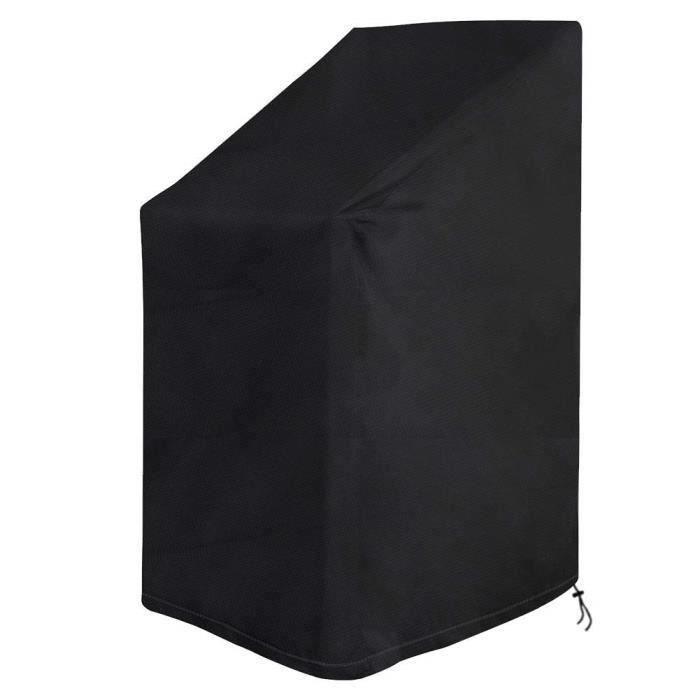 Housse de Protection pour Chaise de Jardin Empilables Imperméable avec Cordon Intégré 420D Oxford Noir 65 x 65 x 80-120 cm