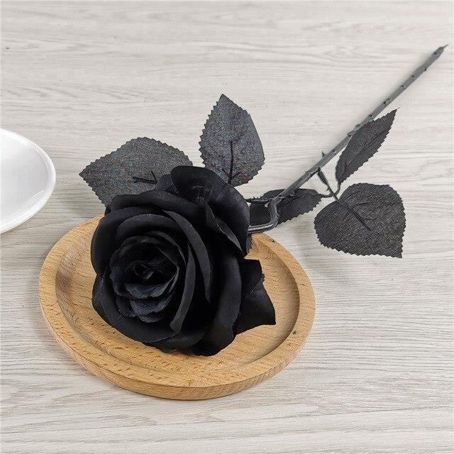 Roses artificielles noires, 50cm, fausses fleurs, 8 couleurs au choix, pour décoration de mariage, de maison, en flanell ES11941