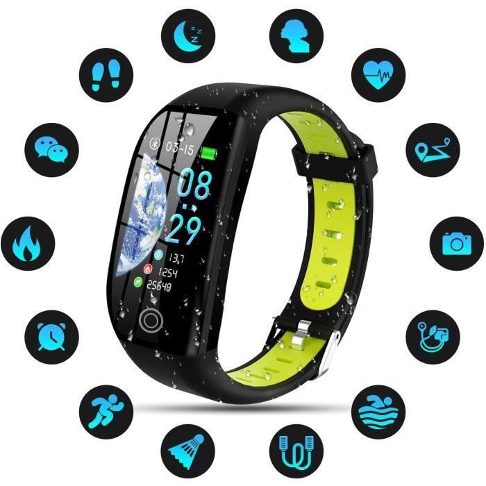 Montre Connectée Femmes Homme Enfant IP68 Etanche Bracelet Connecté Smartwatch pour iPhone Huawei Samsung Xiaomi Sony-Vert