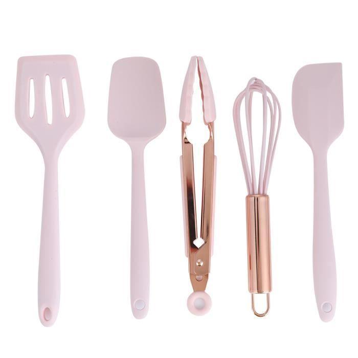EBTOOLS Ustensiles de cuisine en silicone 5 pièces ensemble d'ustensiles de cuisine en Silicone spatule en silicone grattoir