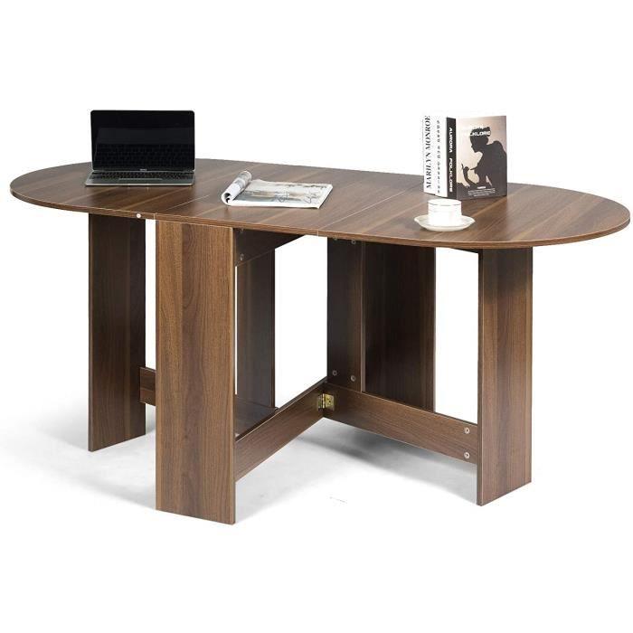 DREAMADE Table de Salle à Manger Pliable, Table Pliante de Cuisine Multifonctionnelle avec Plateau Ovale, Économie d'Espace & Ut65
