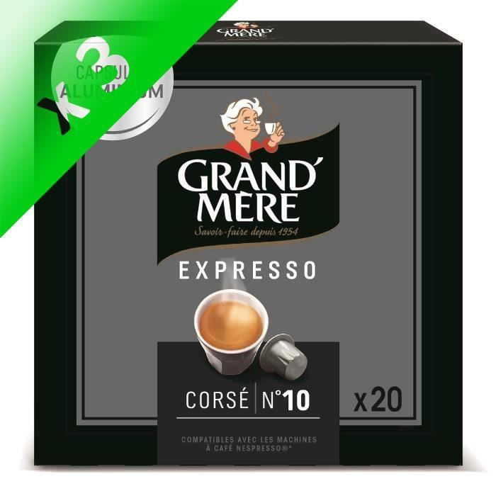 Lot de 3 - Café Capsules Grand Mère Expresso Corsé x20, en aluminium compatibles avec le système Nespresso -104g