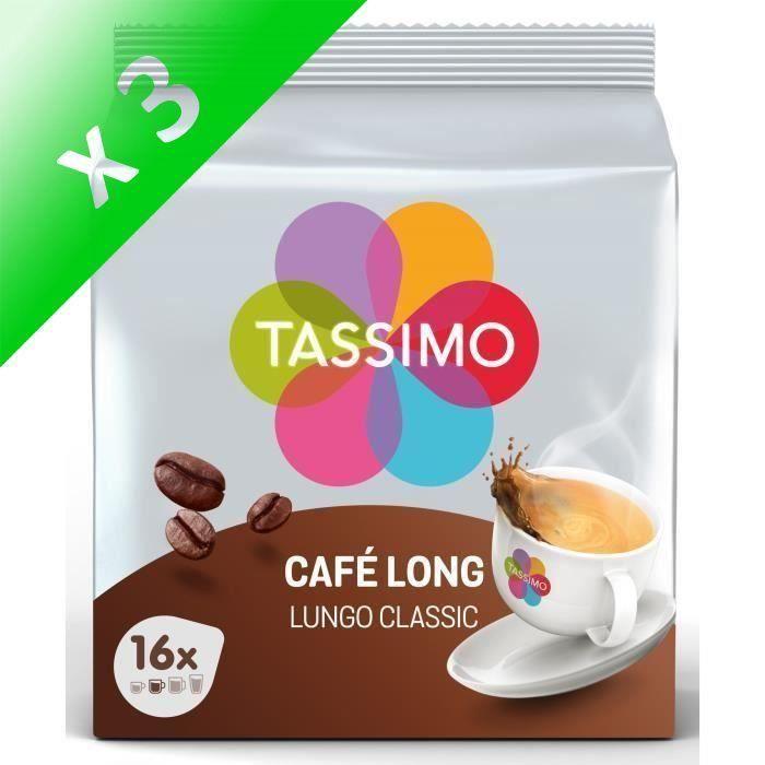 Lot de 3 - Tassimo café long café en dosettes x16 - 107 g
