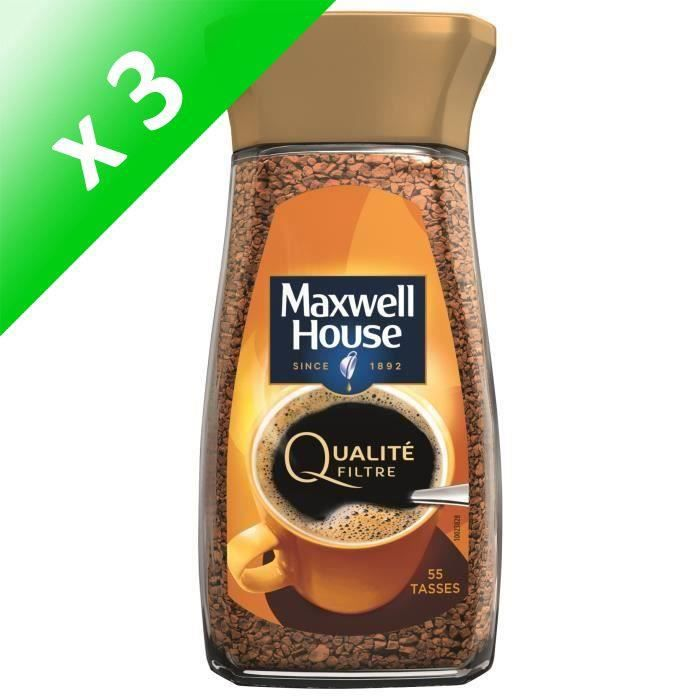 Lot de 3 -Maxwell House Qualité Filtre café soluble bocal - 100 g