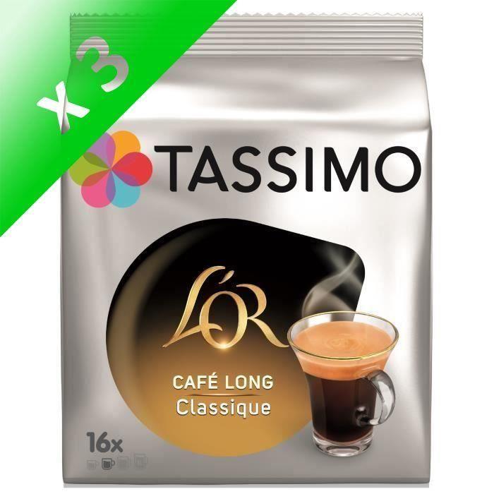 Lot de 3 - Tassimo L'Or Café Long Classique en dosettes x16 - 104 g