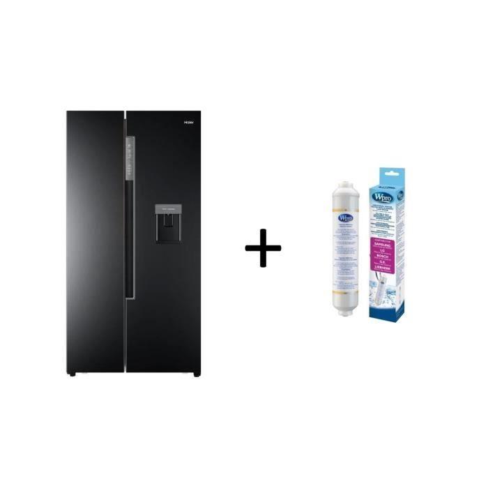 Pack HAIER HRF-522IB6 - Réfrigérateur Américain - 500L (331+169) Noir + PACK Filtre Universel USC100 et Thermomètre TER214 WPRO