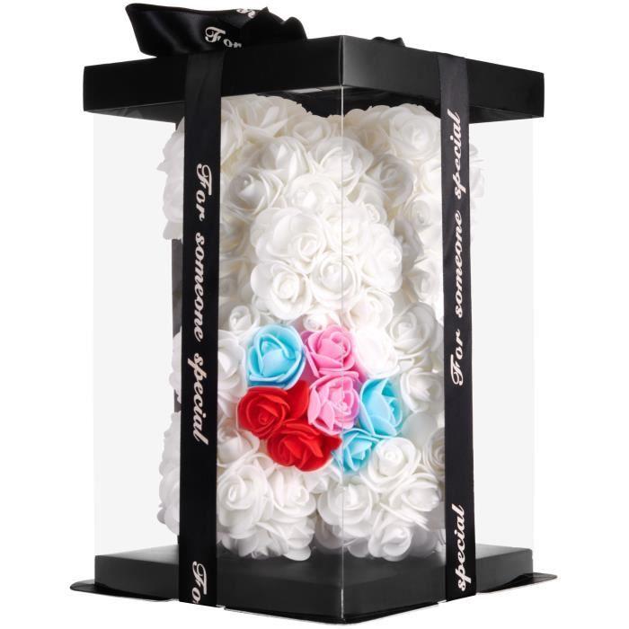BRUBAKER Ours en Rose avec Coeur 25 cm - Fleurs Cadeau pour l'anniversaire de la Saint-Valentin - Blanc avec Coeur Arc-en-Ciel