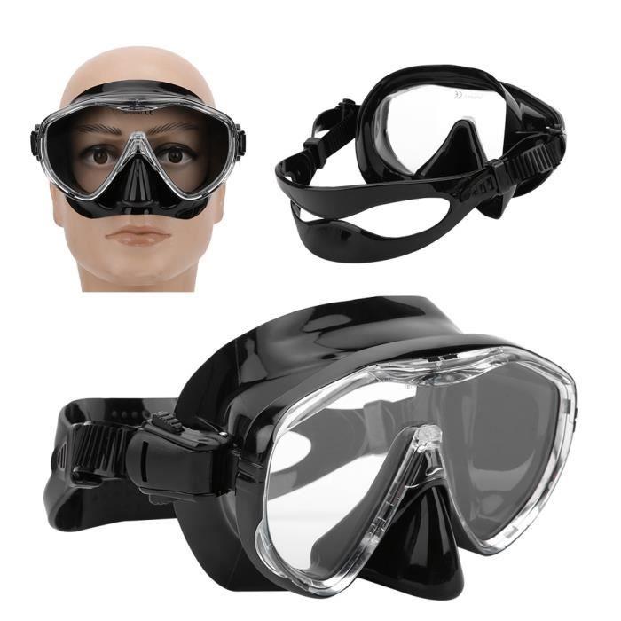 Lunettes de Plongée Adultes Protection Faciale en Silicone Équipement de Plongée Professionnel(MK-101 Noir ) -CET