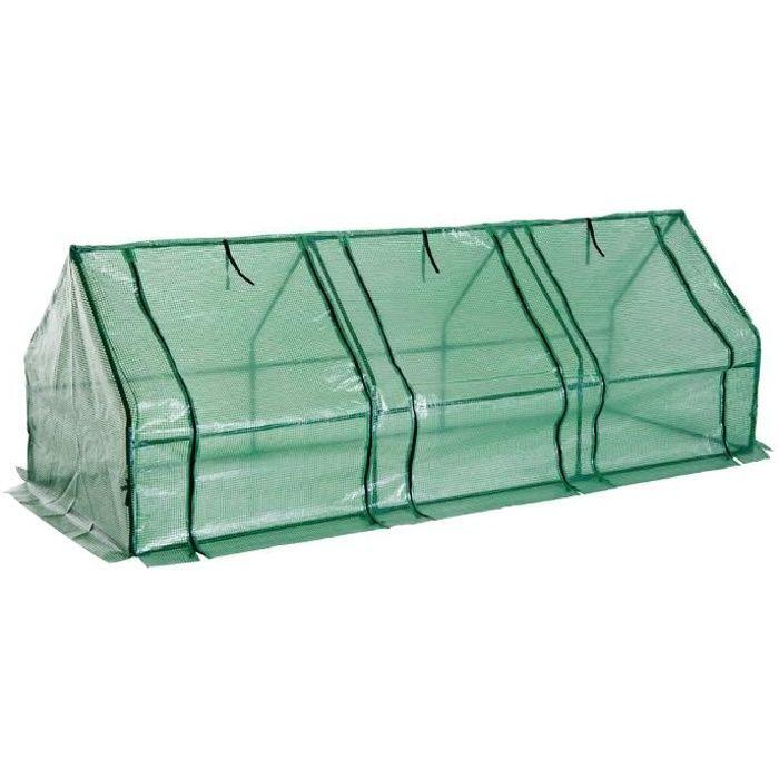 Mini serre de jardin serre à tomates 270L x 90l x 90H cm acier PE haute densité 140 g/m² anti-UV 3 fenêtres avec zip enroulables ...