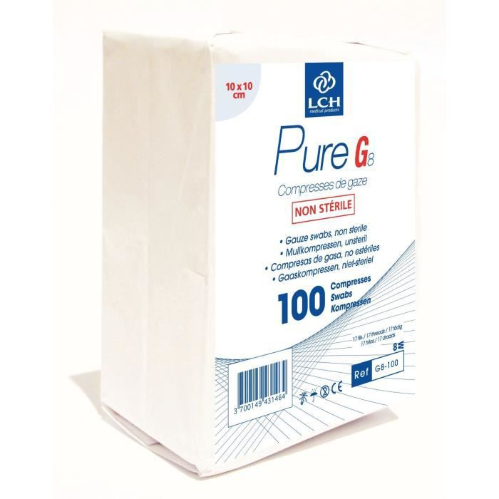 Lot de 50 boites de 100 Compresses de gaze PURE 10x10 cm