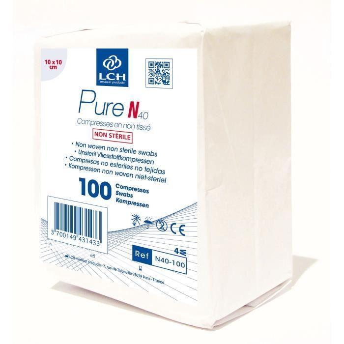 Lot de 5000 Compresses (50x100) PURE non tissé non stérile 40g - 10x10 cm