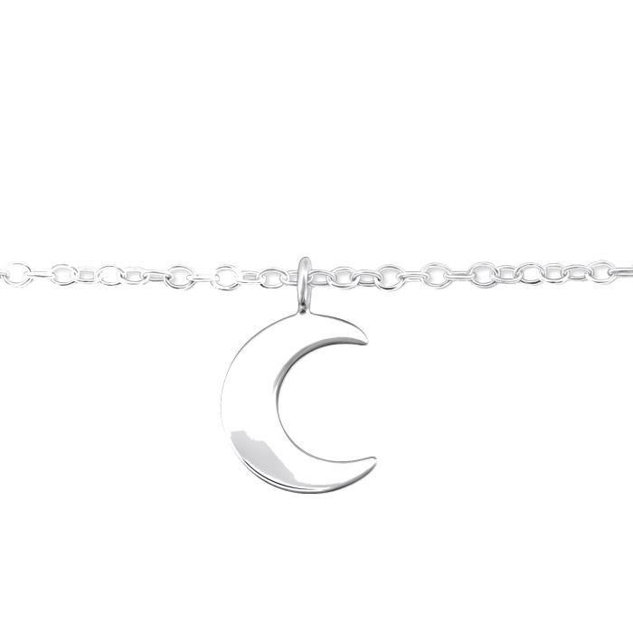 Chevillere Chaine de Cheville en Argent 925-000 - Pendentif Croissant de Lune