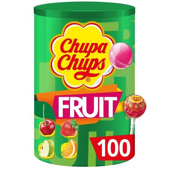 CHUPA CHUPS Tubo de 100 sucettes Fruits - Parfums pomme, fraise, orange et cerise