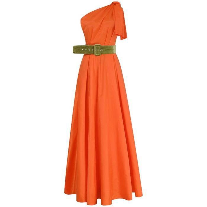 Robe Cardigan À Épaules Dénudées Pour Femmes De Soirée Formelle Orange Solide
