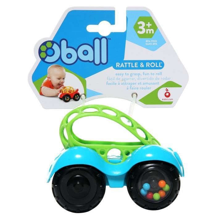 OBALL Petite Voiture Rattle & Roll™ - 3-36 mois - Bébé mixte - 2 couleurs assorties