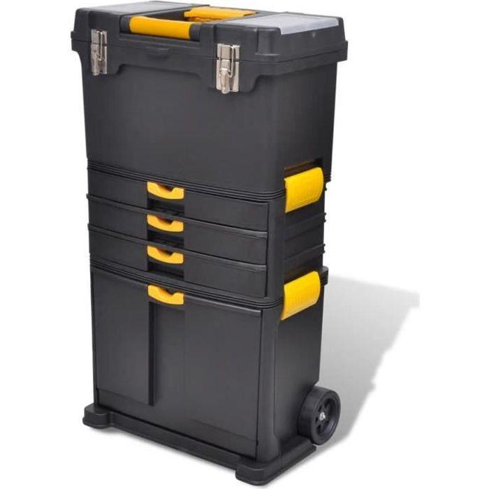 Trolley à outils - Servante - Valise de rangement Servante d'Atelier Armoires à outils Noir et jaune
