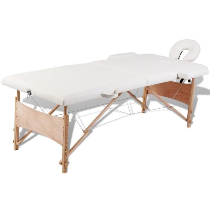 Table de Massage Soin de santé 2 Zones Crème Cadre en Bois Pliante