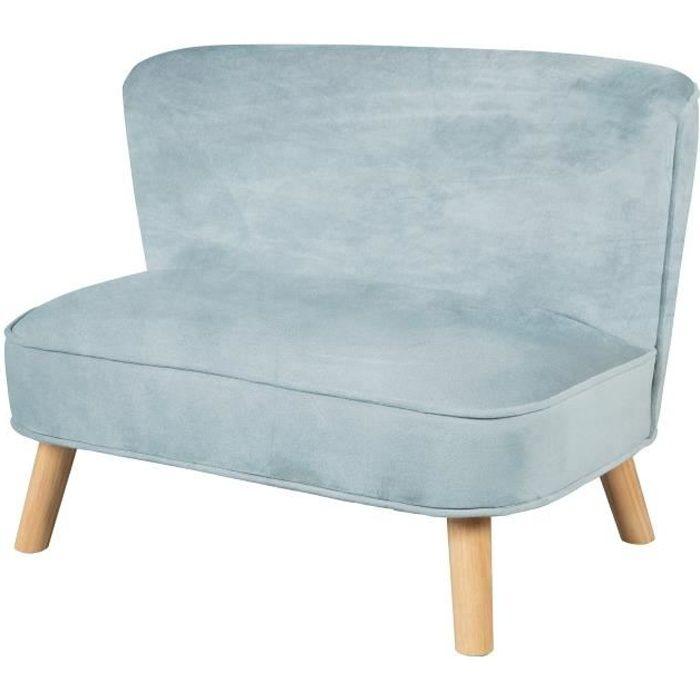 ROBA Canapé enfant -Lil Sofa- avec pieds en bois stables et un tissu de velours bleu clair