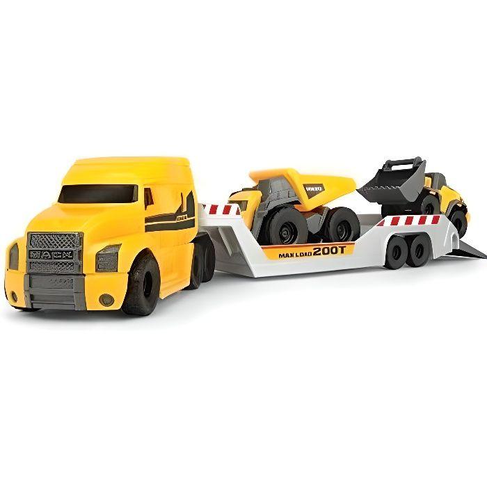 Dickie Toys Camion Volvo Mack avec 2 véhicules Volvo sur remorque, Camion-Benne et Chargeur sur Roue, remorque à découpler, pièces M