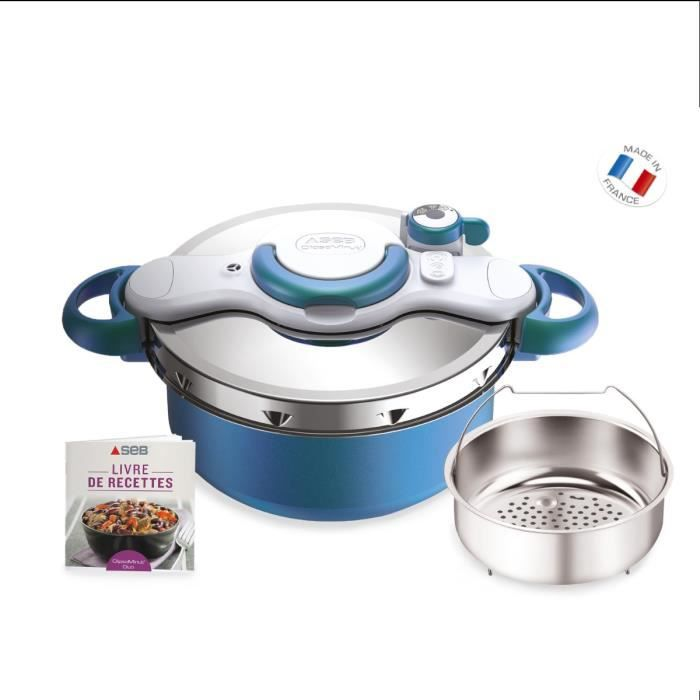 SEB P4705100 Autocuiseur Cocotte-minute® CLIPSOMINUT'® DUO - 5L - Tous feux dont induction - Fabrication française - Bleu Boréal
