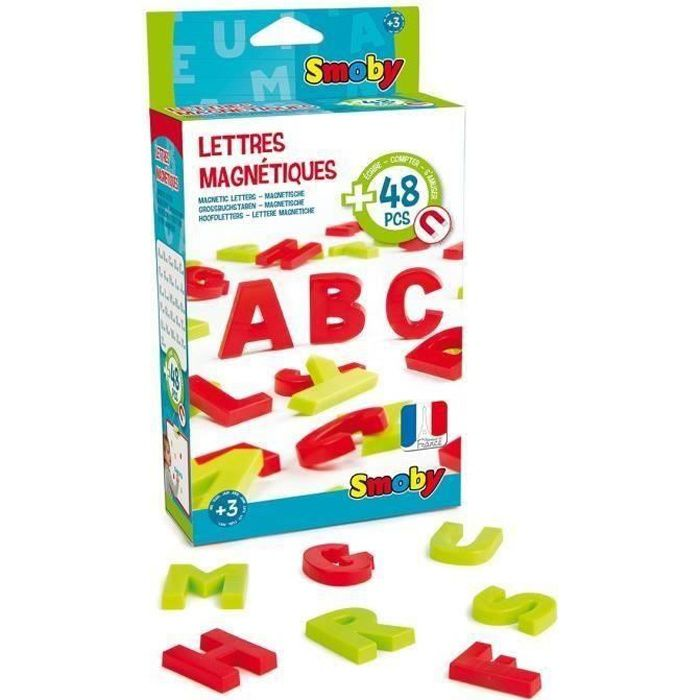 SMOBY 48 Lettres Magnétiques Majuscules Rouge/Vert