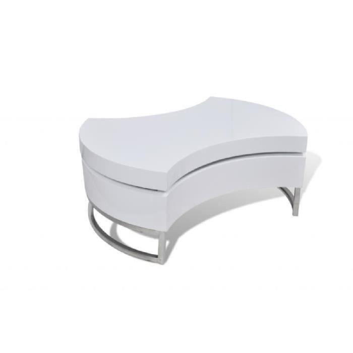Table basse pivotante de chambre ou salon en MDF+pieds en acier inoxydable Blanche brillante laquée