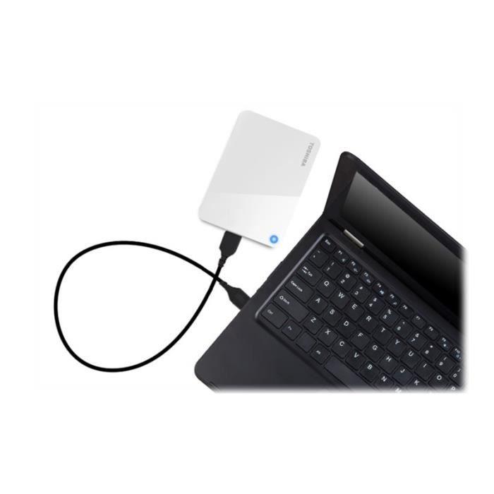 TOSHIBA - Canvio Advance Disque dur - 1 To - externe (portable) USB 3.0 finition piano brillant blanche (HDTC910EW3AA)