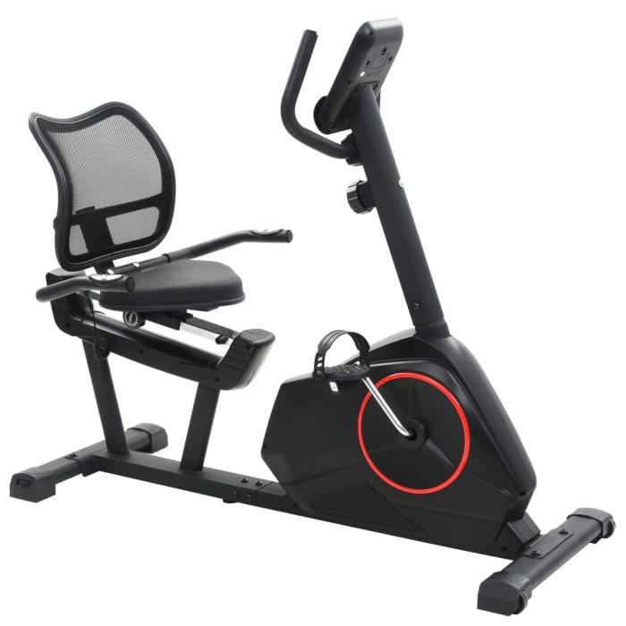 Vélo semi-allongé d'exercice 10 kg Masse rotative - Noir - Cardio - Machines de cardiotraining - Vélos d'appartement - Noir - Noir