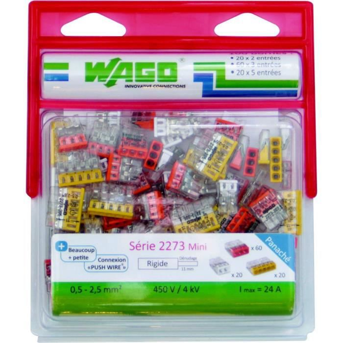 WAGO Pack de 100 bornes 2273 20 x 2 entrées + 60 x 3 entrées + 20 x 5 entrées