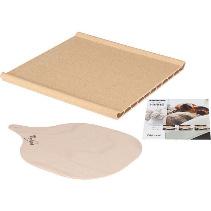 WPRO PTF100 Pierre à pizza : contient une plaque en terre cuite, une pelle d'enfournement en bois et un livret de recettes