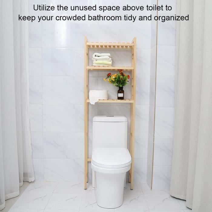 3 Niveaux Étagère de toilette Tablette de rangement en bois ...