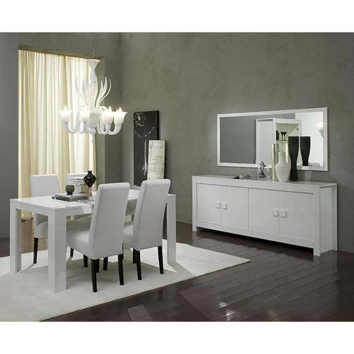 Salle manger compl te blanc laqu design tamara 2 for Achat salle a manger complete