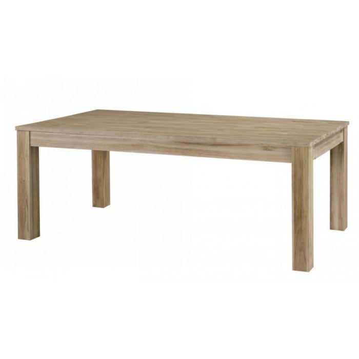 Table avec allonge teck massif blanchi 39 univers achat for Table a manger avec allonges