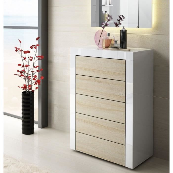 commode blanche et bois brut au contour blanc 58 c achat. Black Bedroom Furniture Sets. Home Design Ideas